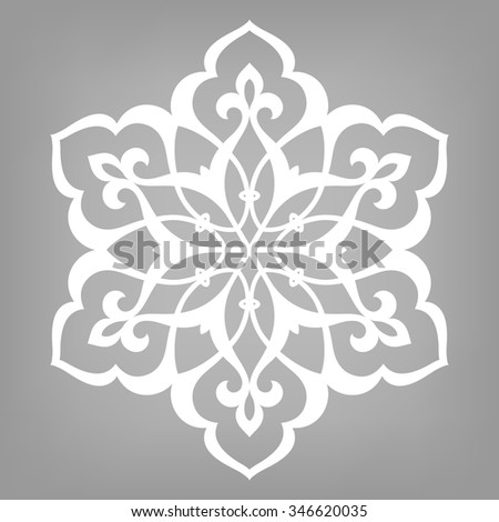 Six pointed circular pattern. Mandala. Round vector ornament on gray background in Arabic style. - stock vector