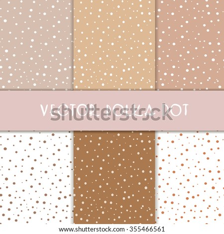 Six polka dots of different colors beige tones, all seamless - stock vector