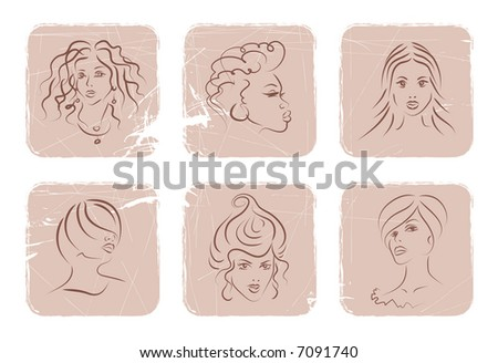 six powder-shaped squares with different women faces. beauty conception. vector illustration. easy to change colors.
