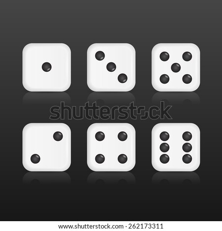 Six realistic dices with with reflections on black background. Vector EPS10 illustration.  - stock vector