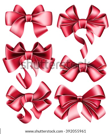 Six red bows - stock vector