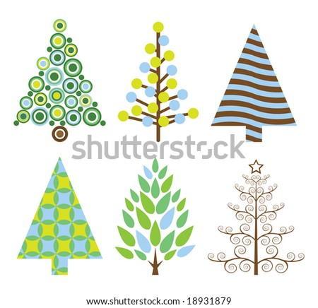 Six retro Christmas trees - stock vector