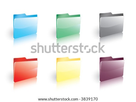 Six Shiny Colored Folder Icons