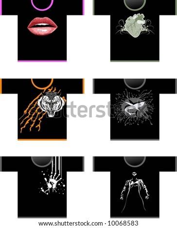 Six shirts - stock vector