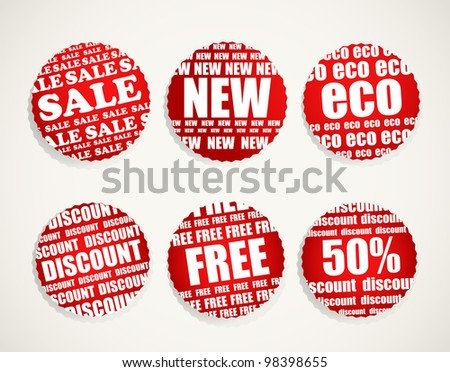 Six Shopping discount labels collection - stock vector