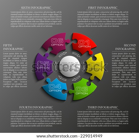 Six sided 3d puzzle presentation infographic template with explanatory text field for business statistics - stock vector