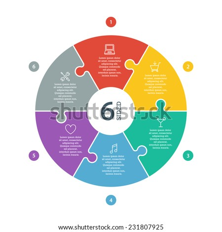 Six sided, numbered flat rainbow spectrum colored puzzle presentation infographic chart with explanatory text field isolated on white background. Vector graphic template. - stock vector