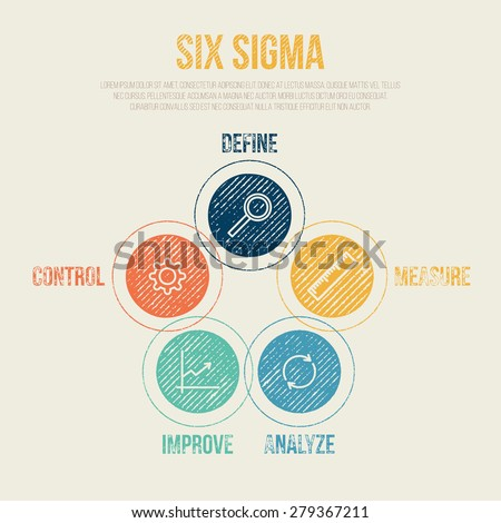 Six Sigma Project Management Diagram Template - Vector Illustration - Infographic Element
