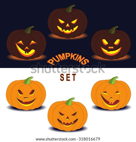 Six simplified images of Halloween pumpkins with different smiling facial expressions isolated on dark and white. Elements for Halloween design.   - stock vector