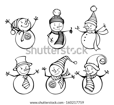 Six snowmen isolated on white background. Cute cartoon snowmen in vector for winter design. EPS 8.