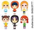 Six sweet little girls from diverse ethnic groups with different clothing styles - stock vector