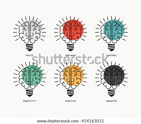 Six thinking hats concept design with human brains as light bulbs in colorful modern line art style. EPS10 vector. - stock vector