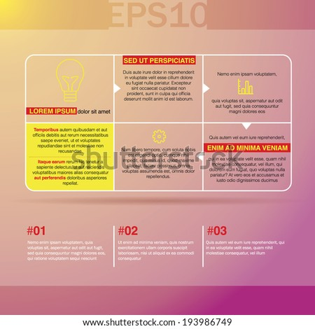 Six transparent square banners with arrows on bright colorful background. Vector illustration EPS10 - stock vector