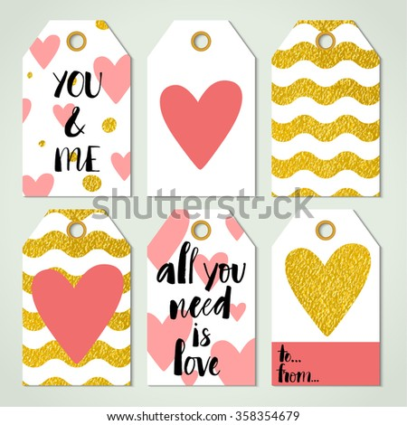 Six Valentine's day card templates. Modern calligraphy and digitally made golden texture effect. Brush painted letters, vector illustration. - stock vector