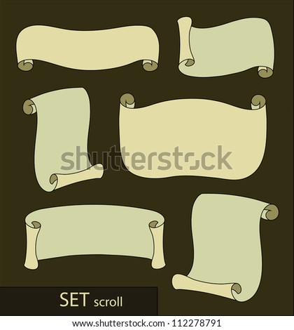 Six variations of scrolls on a dark background. Vector / Scrolls - stock vector