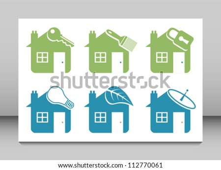 Six vector house icons. - stock vector