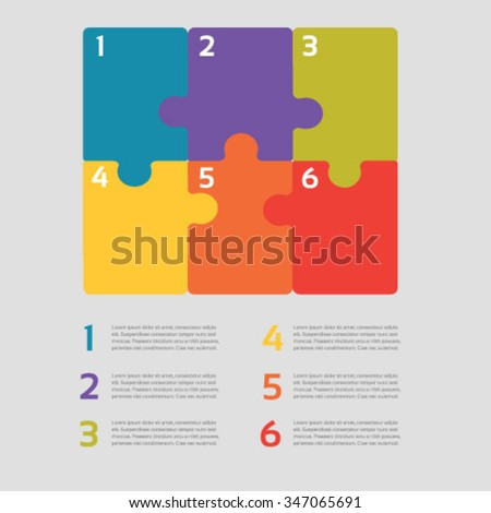 Six vector jigsaw puzzle pieces for multiple uses - stock vector