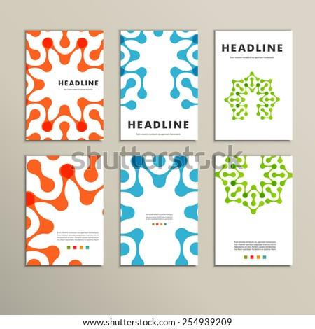 Six vector pattern with abstract figures brochures. - stock vector
