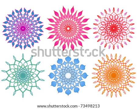 Six Vibrant and Colorful Mandalas - stock vector