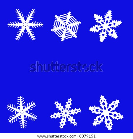 six white snowflakes on a blue background