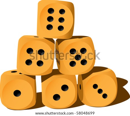 Six wood playing dices - illustration