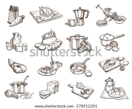 Sixteen black icon set with image of food and kitchenware - stock vector