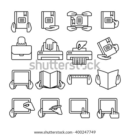 Sixteen flat  black outline computer icons isolated on white - stock vector