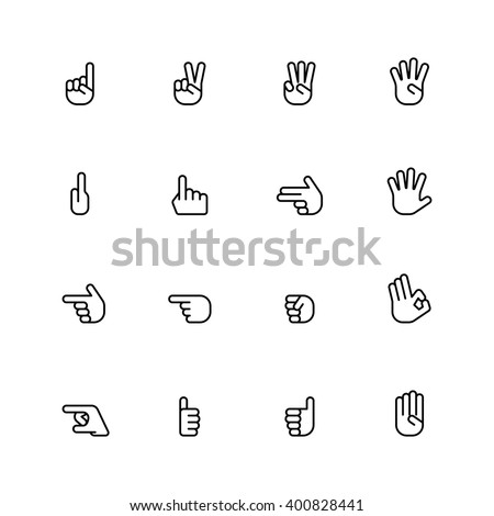 sixteen flat style hand icons isolated on white background - stock vector