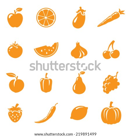 Sixteen fruit and vegetable icons. Easy to change color. - stock vector