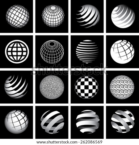 Sixteen Globes in Black and White - stock vector