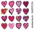 sixteen hand drawn hearts in pinks and purples - stock vector