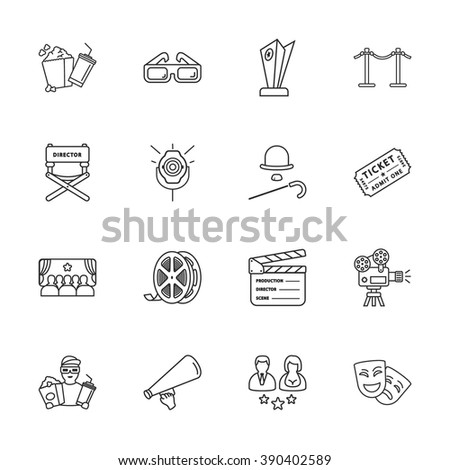 sixteen modern cinema icons - stock vector