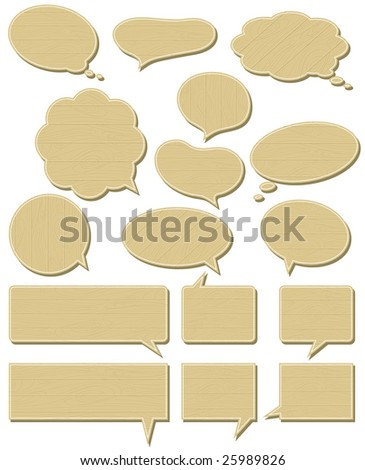 sixteen wooden  labels , vector illustration