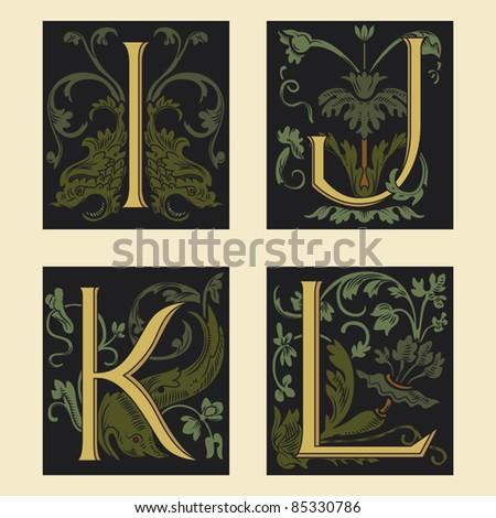 Sixteenth-Century alphabet I J K L in editable vector file - stock vector