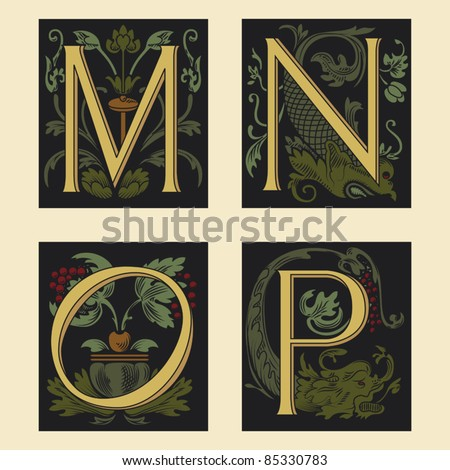 Sixteenth-Century alphabet M N O P in editable vector file - stock vector