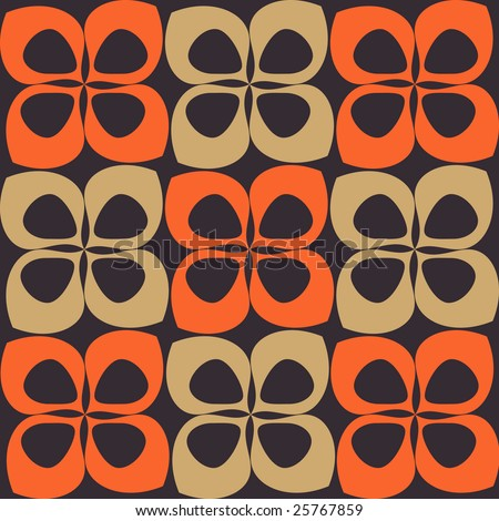 Sixties and seventies styled seamless background pattern - stock vector