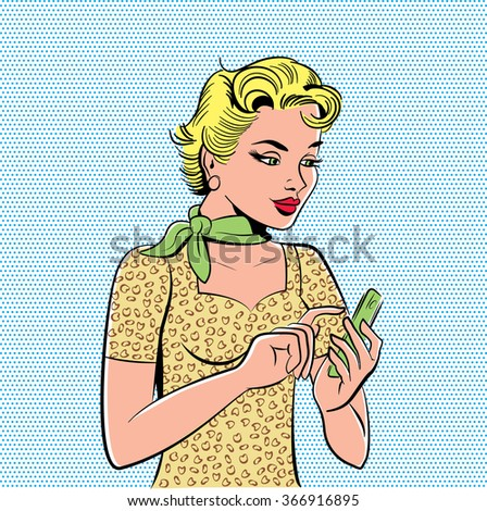 Sixties retro comic pop art style graphic of a blonde girl dialling or texting a number on her modern cell phone. Standing against a blue dot screen background.  - stock vector
