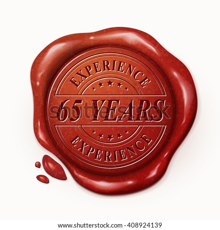 sixty five years experience 3d illustration red wax seal over white background - stock vector