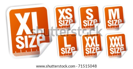 size clothing stickers set - stock vector