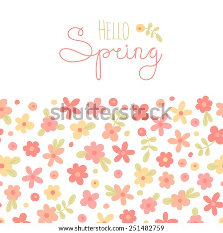 Sizon card Hello Spring with cute flowers. Vector illustration. - stock vector