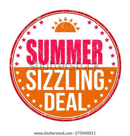 Sizzling summer deal grunge rubber stamp on white background, vector illustration - stock vector