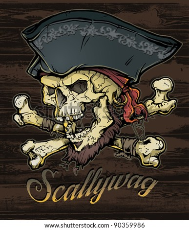 Skallywag Pirate Skull - stock vector