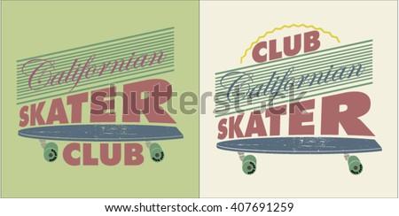 skate board typography, t-shirt graphics, vectors, logo   - stock vector