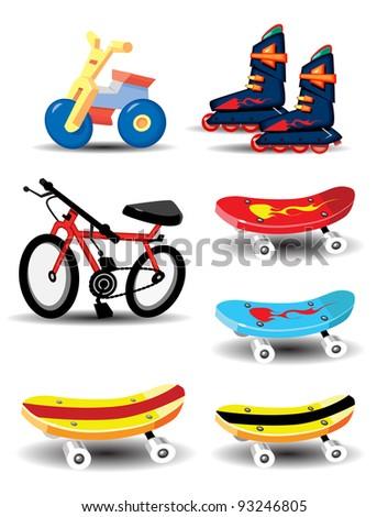 Skate Boards and Bikes - stock vector