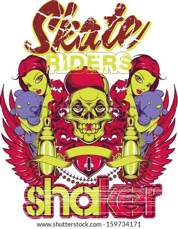 Skate shaker - stock vector