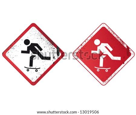 Skate Street Sign - stock vector