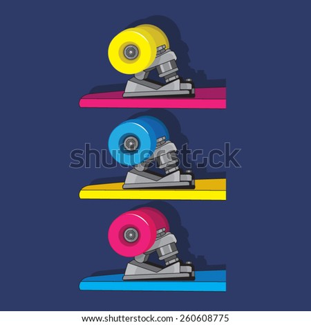 Skate wheels illustration, t-shirt graphics, vectors, sport  - stock vector