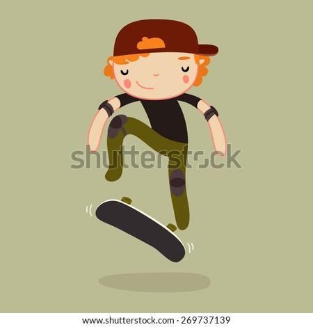 skateboard boy. Kickflip. vector illustration - stock vector