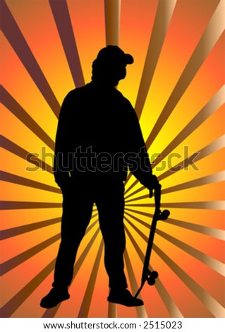 Skateboard boy silhouette over abstract background - stock vector