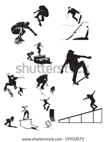 skateboard collage of skaters in various trick poses can be resized to one's desire - stock vector